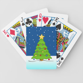 Cute Christmas Tree in Snow Bicycle Playing Cards