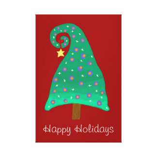 Cute Christmas Tree On Red Canvas Print