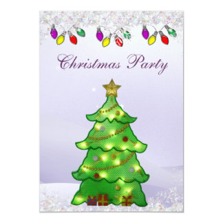 Cute Christmas Tree with Lights Christmas Party 5x7 Paper Invitation Card