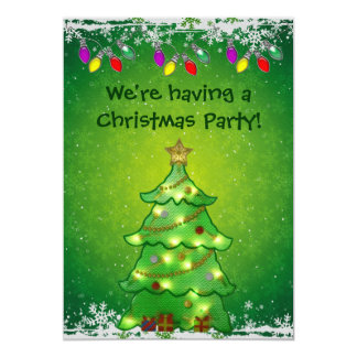 Cute Christmas Tree with Lights Party Invites