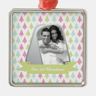 Cute Christmas Trees and Military Dog Tags Photo Metal Ornament