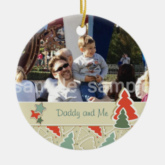 Cute Christmas Trees and Stars Photo Ornament