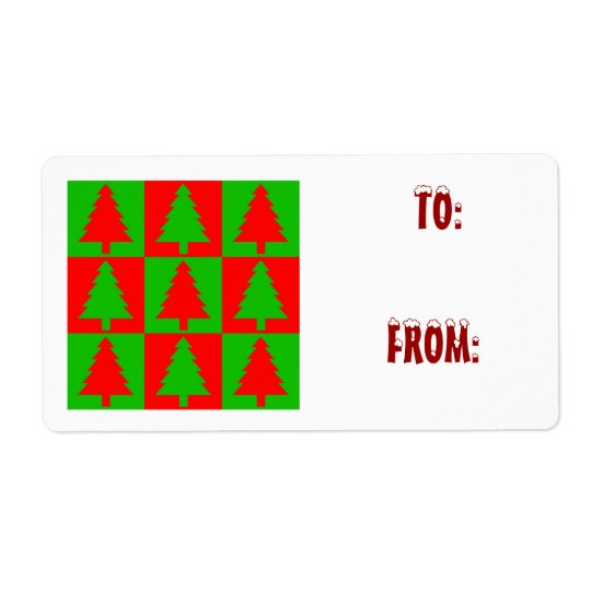 Cute Christmas Trees Gift Tags Labels