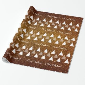 Cute Christmas Trees Pattern | Brown Customizable Wrapping Paper