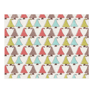 Cute Christmas Trees Pattern Postcard