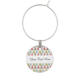 Cute Christmas Trees Pattern Wine Charms