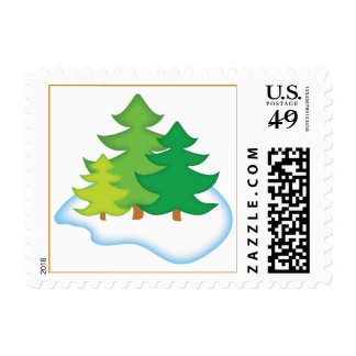Cute Christmas Trees Postage Stamp