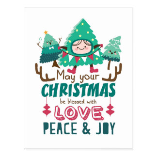 Cute Christmas Trees Postcard