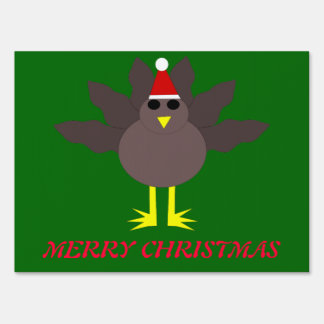 Cute Christmas Turkey Custom Sign