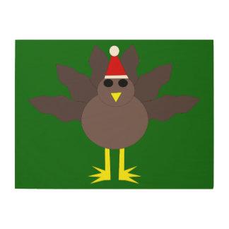 Cute Christmas Turkey Wood Canvas