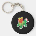 cute christmas turtle basic round button keychain