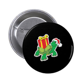 cute christmas turtle 2 inch round button