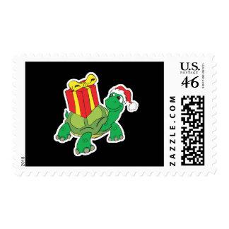 cute christmas turtle postage stamp