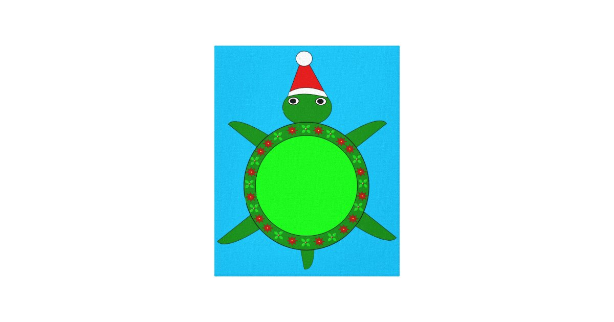 Cute Christmas Turtle With Flowery Shell Canvas Print Zazzle Com