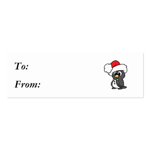 Cute Christmas Tuxedo Penguin Double-Sided Mini Business Cards (Pack Of 20)