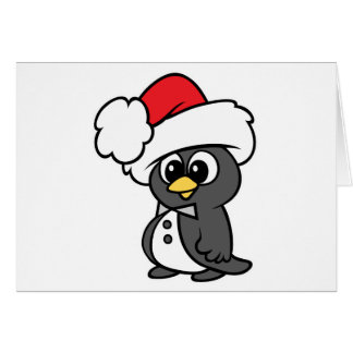 Cute Christmas Tuxedo Penguin Greeting Card