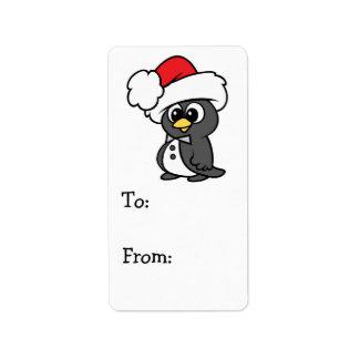 Cute Christmas Tuxedo Penguin Custom Address Label