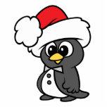 Cute Christmas Tuxedo Penguin Standing Photo Sculpture