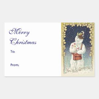 Cute Christmas Vintage Snowman Rectangular Sticker