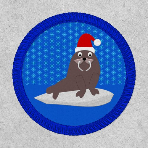 Cute Christmas Walrus and Snowflakes Patch