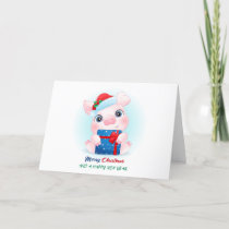 Cute Christmas Watercolor Baby Pig with Santa Hat Holiday Card