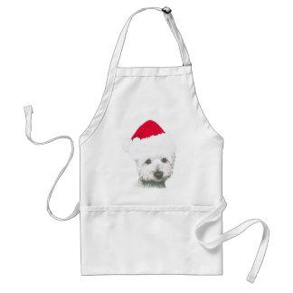 Cute Christmas Westie Dog Adult Apron