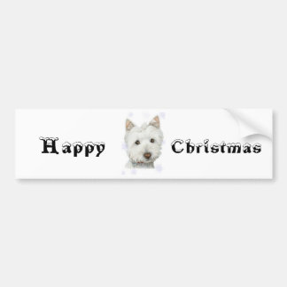 Cute Christmas Westie Dog Gifts Bumper Stickers