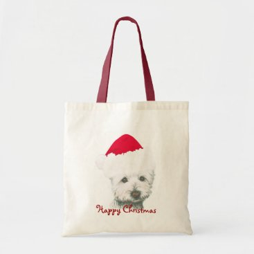 Christmas Themed Cute Christmas Westie Dog Tote Bag