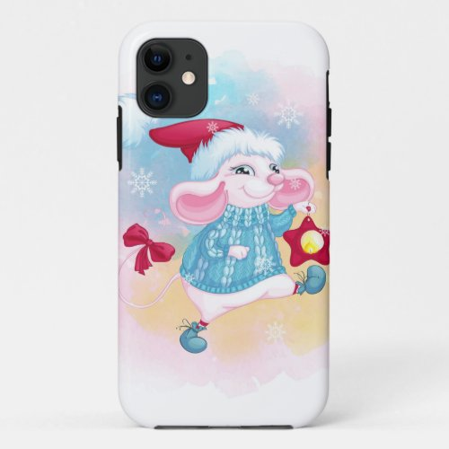 Cute Christmas White Mouse iPhone 11 Case