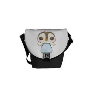 cute christmas winter angel penguin courier bags