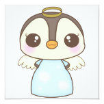 cute christmas winter angel penguin invites