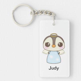 cute christmas winter angel penguin Double-Sided rectangular acrylic keychain