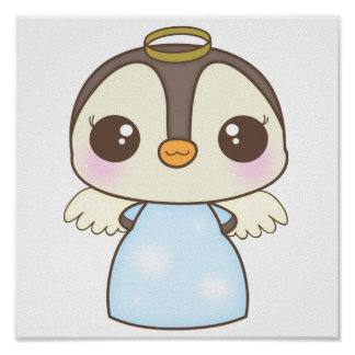 cute christmas winter angel penguin posters