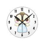 cute christmas winter angel penguin round clock