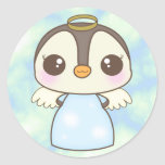 cute christmas winter angel penguin round stickers