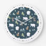 Cute Christmas Winter Animals Pattern Large Clock