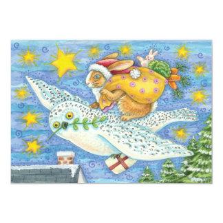 Cute Christmas with Rabbit as Santa Claus on Owl Card