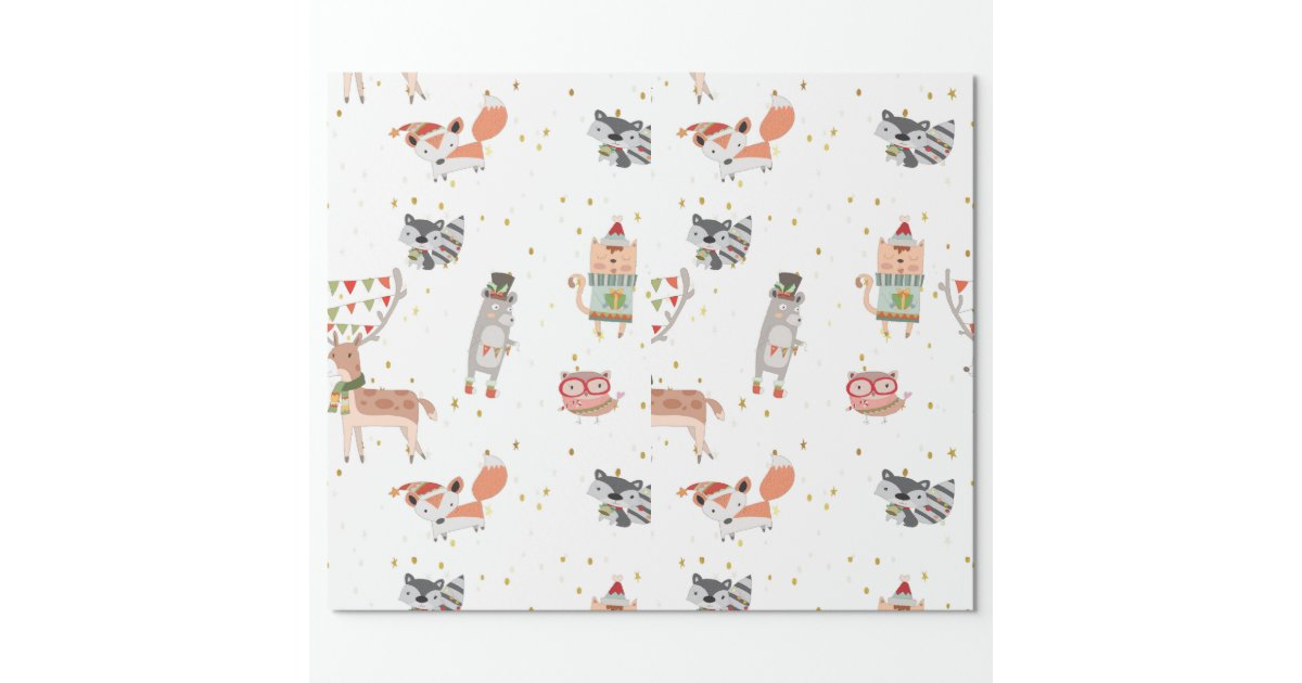 Cute Christmas Woodland Animals Wrapping Paper Zazzle