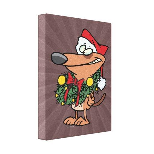 cute christmas wreath puppy dog canvas prints