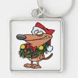 cute christmas wreath puppy dog key chains