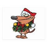 cute christmas wreath puppy dog postcard
