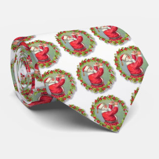 Cute Christmas Wreaths and Santa Claus Neck Tie
