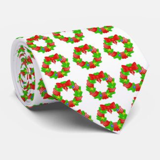 Cute Christmas Wreaths Patterned Neck Tie