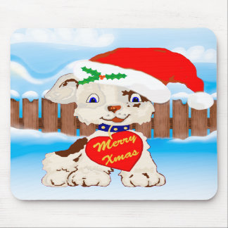 Cute Christmas xmas PUPPY dog Mouse Pad