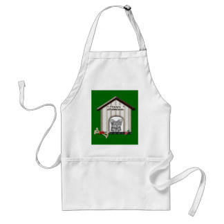 Cute Christmas Yorkie Dog House Adult Apron