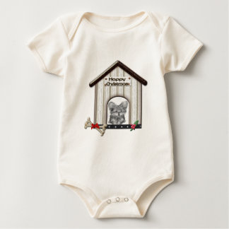 Cute Christmas Yorkie Dog House Baby Bodysuit