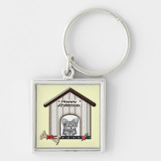 Cute Christmas Yorkie Dog House Keychain