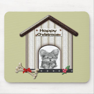 Cute Christmas Yorkie Dog House Mouse Pad