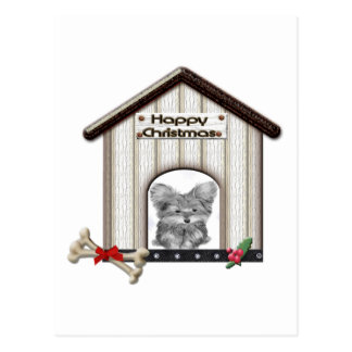 Cute Christmas Yorkie Dog House Postcard