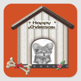 Cute Christmas Yorkie Dog House Square Sticker